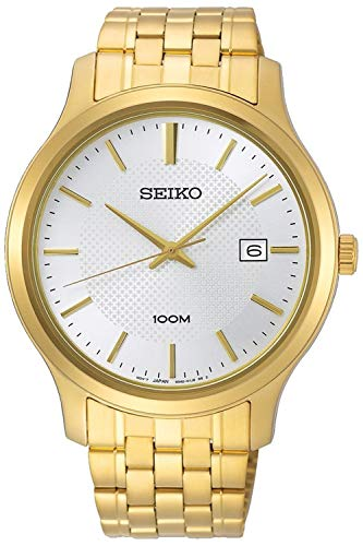 Seiko Gold Plated Bracelet - Seiko neo Classic Mens Analog Quartz Watch with Stainless Steel Gold Plated Bracelet SUR296P1