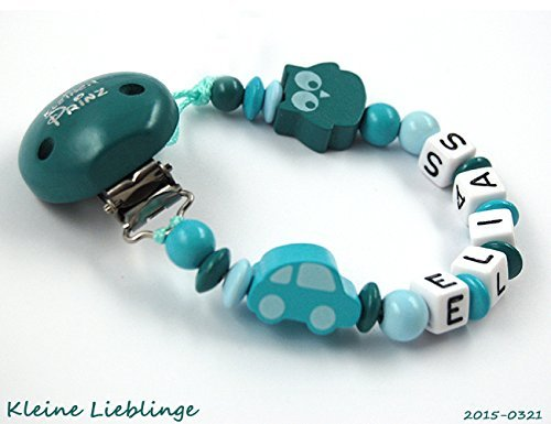Schnullerkette mit Namen Junge Holz - Kleiner Prinz - Auto - Eule - petrol - türkis - blau - Baby Geschenk - Taufgeschenk - Handarbeit