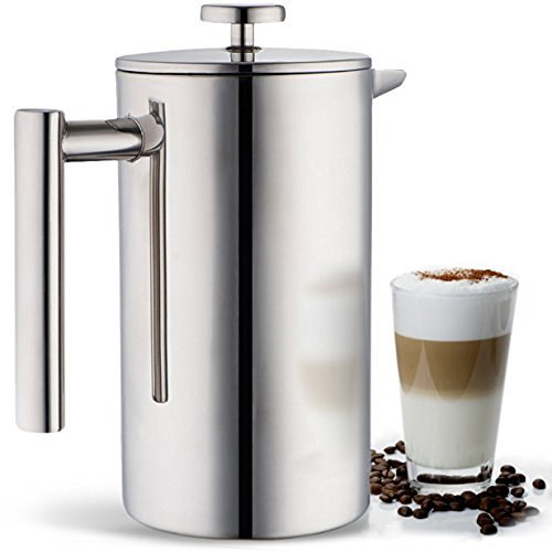Miuly French Press, Double Wall 18/8 Stainless Steel Coffee & Tea Maker, 8 Cup, 1000ml, Gift set with 2 Additional Replacement Filter Screens