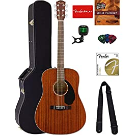 Fender CD-60S Solid Top Dreadnought Acoustic Guitar – All Mahogany Bundle with Hard Case, Tuner, Strap, Strings, Picks…