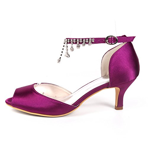 L@YC Women Wedding Shoes Rhinestones Pendant Toe Platform Peep Toe Satin Stiletto/Court Shoes Purple 2eFQnYJsu