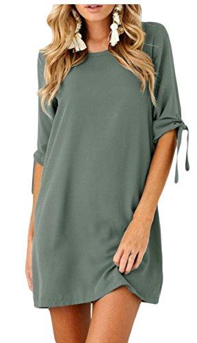 Jaycargogo Mini T-shirt Robe Courte Tunique De Swing Encolure Ras Du Cou Solide Manches Cravate Femmes Gery