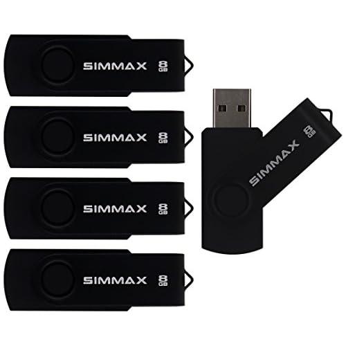 SIMMAX 5Pcs 8GB USB Flash Drive USB 2.0 Flash Drive Memory Stick Fold Storage Thumb Stick Pen Swivel Design(Black)
