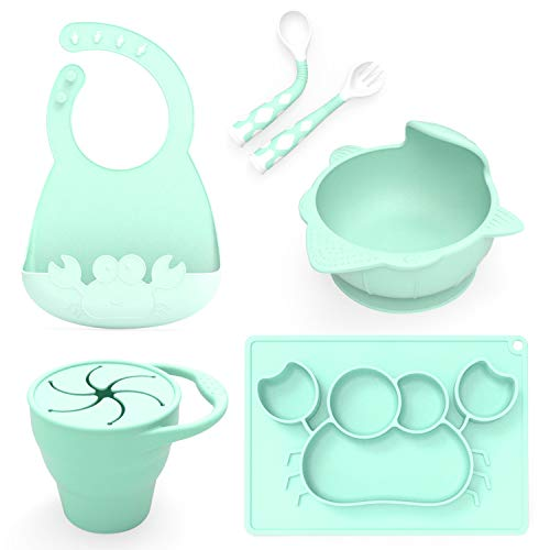Baby Feeding Set,Including Bowl with Suction, Dish, Bendable Fork and Spoon, Adjustable Baby bib, and Snack Cups. Harmless, Silicone, Easy to Clean Again, Perfect Infant Baby Shower Gift - Green