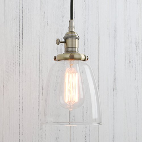 Permo Vintage Incandescent One Light Pendant Mini Cone Clear Glass Ceiling Hanging Lamp Fixture 1-light - Oval Vintage Border