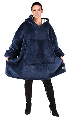 Catalonia Oversized Hoodie Blanket Sweatshirt,Super Soft Warm Comfortable Sherpa Giant Pullover with Large Front Pocket,for Adults Men Women Teenagers Kids,Blue