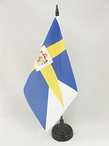 BANDIERA DA TAVOLO REALE DELLA SVEZIA 21x14cm - PICCOLA BANDIERINA SVEDESE CON STEMMA 14 x 21 cm - AZ FLAG