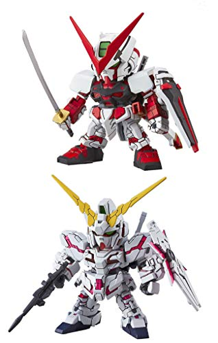 2 Bandai SD EX-Standard Gundam Assembly Models - RX-0 Unicorn (Destroy Mode) & Astray Red Frame (Japan Import)