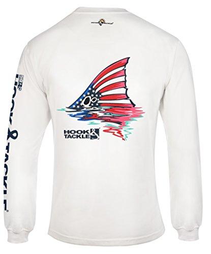 Hook & Tackle® Men's American Redfish Long Sleeve Sun Protection Fishing Shirt White Large (Redfish Fishing T-shirt)