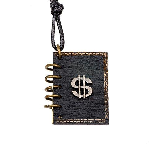 Winter's Secret The Book Shape Dollar Sign Pendant Could Put Photo Vintage Adjustable Length Locket Necklace Unisex Wear - Ranger Power Diy Costume