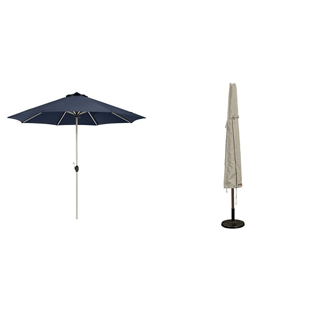 Classic Accessories Montlake FadeSafe 9-Foot Round Aluminum Patio Umbrella, Heather Indigo with Montlake Patio Umbrella Cover