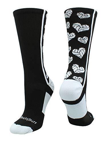 MadSportsStuff Crazy Love Volleyball Hearts Crew Socks (Black/White, Small) (Volleyball Girls Socks)