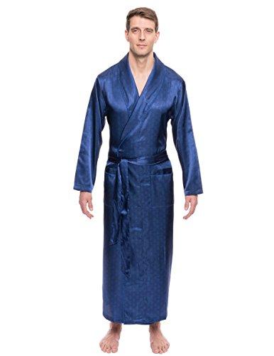 - Noble Mount Twin Boat Men's Satin Robe - Paisley Blue - L/XL