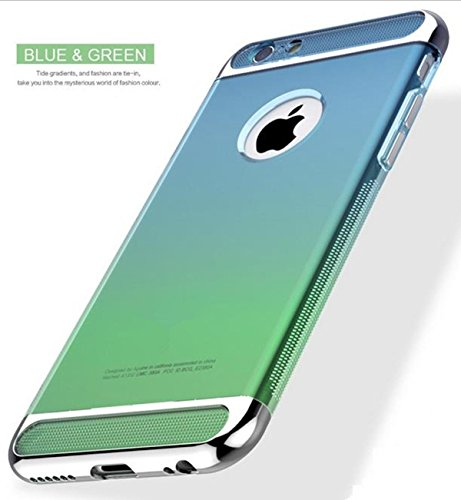 Price comparison product image iPhone 7 Plus Case, Inspirationc 3 in 1 Ultra-thin Anti-Scratch Shockproof Electroplate Metal TPU Soft Silicone Texture Armor Rubber Case Cover for iPhone 7 Plus 5.5 Inch--Blue and Green