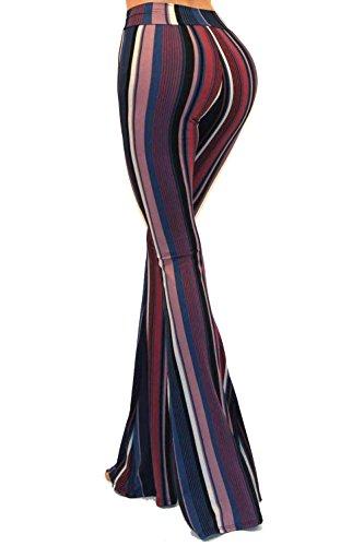 Vivicastle Women's Boho Solid Hippie Wide Leg Flared Bell Bottom Pants (D95, Indigo/Multi, Small)