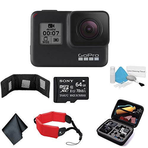 GoPro HERO7 (Black) Waterproof Digital Action Camera with Touch Screen 4K HD Video 12MP Photos Live Streaming Stabilization - Bundle with 64GB Memory Cards + Floating Strap + More
