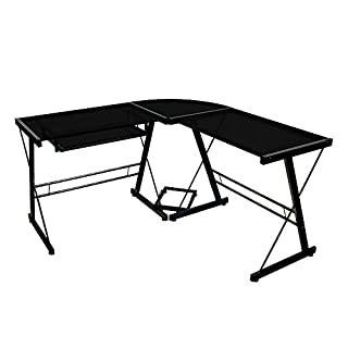 Walker Edison Soreno Modern 3-Piece Corner Desk for Home Office, Black Glass Contemporary Reclaimed Look (B001FB5LE8) | Amazon Products