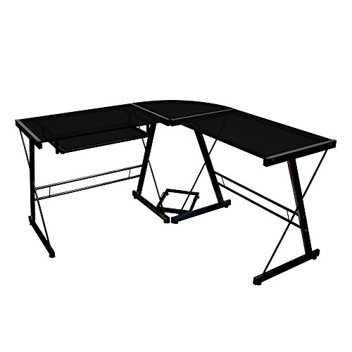 (Walker Edison Soreno Modern 3-Piece Corner Desk for Home Office, Black Glass Contemporary Reclaimed Look)
