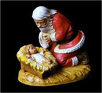Fontanini Santa Kneeling with Christ Child - Figurine Santa Delivery Special