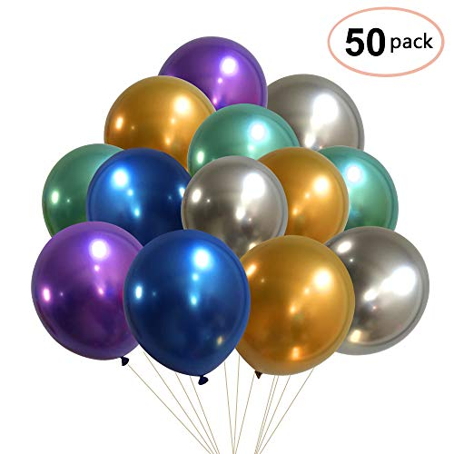Party Balloons, Nesus 50pcs 12 Inch Metallic Colorful Thicker Latex Balloons for Wedding Birthday Decorations from Nesus