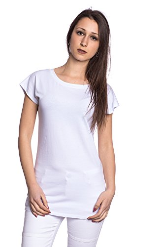 Abbino J110 Camiseta Top para Mujer - Hecho en ITALIA - 6 Colores - Camisas Entretiempo Transición Primavera Verano Otoño Delicado Fiesta Elegante Rebajas Moderno Casual Flexible Venta Blanco