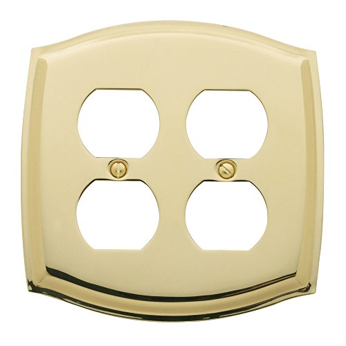 Baldwin Duplex Switchplate - Baldwin Estate 4781.030.CD Colonial Double Duplex Switch Wall Plate in Polished Brass, 5.1