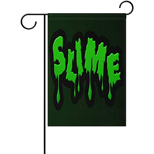 HUNAFIVG Premium Decorative Flags for Outdoors, Mucus Horror Green Halloween Drip Polyester Valentine's Day Garden Flag 12 x 18 Inch Banner Printing for Yard Decor
