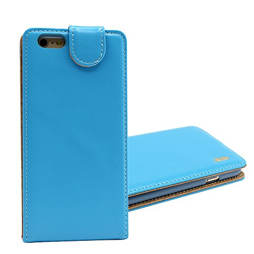 Good Style Iphone 6 Ultra-Soft Genuine Light Blue Leather Flip Case Cover with Two Card Slot for Apple Iphone 6 by G4GADGET®
