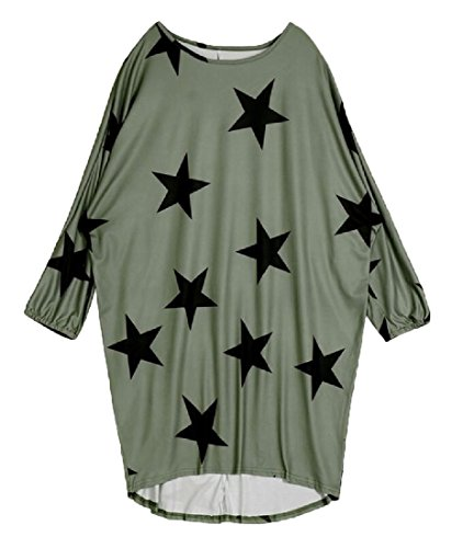 Women's Bat Sleeve Crew Neck Star Printed Mid-Long T-Shirt Tops Blouses Dress 1 S (One Star Mid Top)