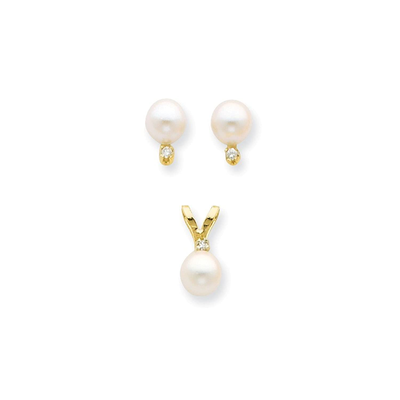 14K 5-6mm Saltwater Akoya Cultured Pearl & Dia. Earring & Pendant Set