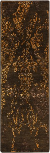 Diva At Home 2.5' x 8' Regal Splendor Chocolate Brown and Gold Hand Tufted Wool Area Throw Rug Runner