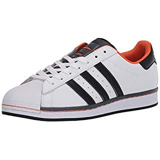 adidas Originals Men's Super Star Sneaker, White/Black/Orange, 3.5