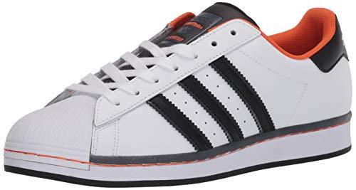 adidas Originals Men's Super Star Sneaker, White/Black/Orange, 7