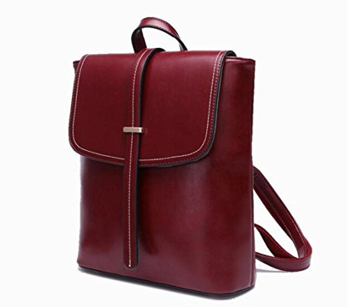 JPFCAK School High Bags Lady Handbag Retro Bag Genuine Student Capacity Backpack Leather Pink Ms Backpack Bags Shoulder HqrwPH