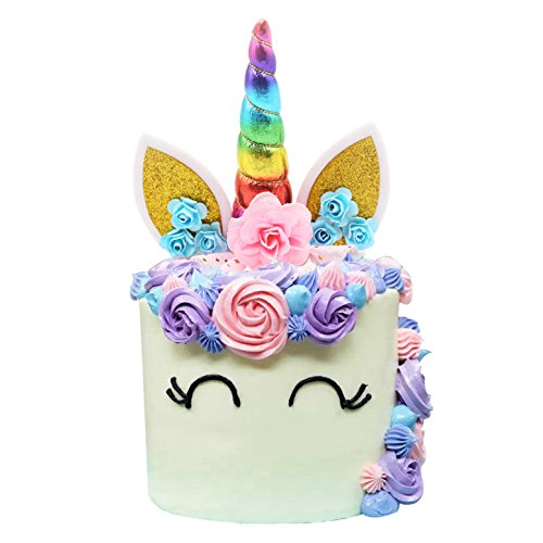 Unicorn Cake Topper Handmade Iridescent Unicorn Horn Ears and Flowers Cake Decor(Rainbow Color)