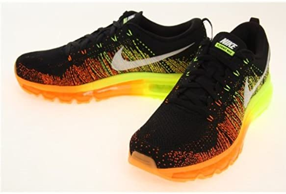 Zapatillas Nike Flyknit MAX para Hombres - Zapatillas para Correr con Cordones - Negras/Vela/Naranja atomico/voltio, 43: Amazon.es: Zapatos y complementos