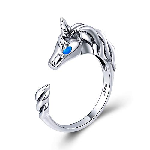 FOREVER QUEEN Sterling Silver 925 Lovely Unicorn Ring, Adjustable Open Rings for Women Girls Birthday Gifts Jewelry Box Packaged