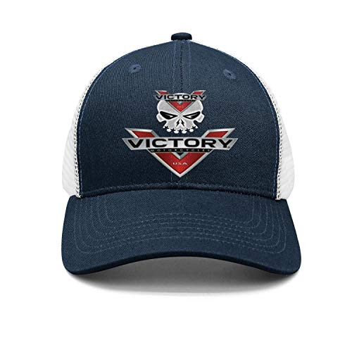 (Mens/Womens Victory-Motorcycle-Logo-Navy-Blue Fashion Baseball hat Adjustable Snapback Cap)