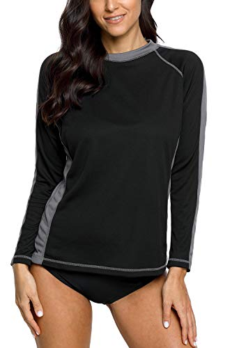 71fb2238d3 vivicoco Womens Long Sleeve Rash Guard Swim Shirts Sun Protection Swimwear  Top