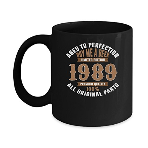 28th Birthday Gifts for Women and Men Under $20, Age Perfection Buy Beerd Vintage Quality 1989 11oz Funny Coffee Mugs Tea Cup