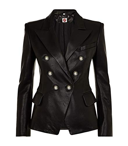 (Takitop Cleopatra Black Coat Double-Breasted Blazer Genuine Leather Jacket Women)