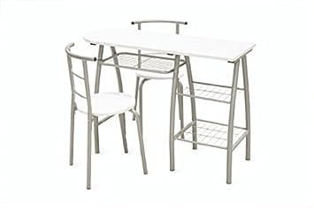 Galileo Casa Brunch péninsule avec chaises - bois - blanc - 110 x 43 x 80 cm - 3 unités