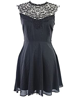 Guess Black Sleeveless Crochet Top A-Line Dress