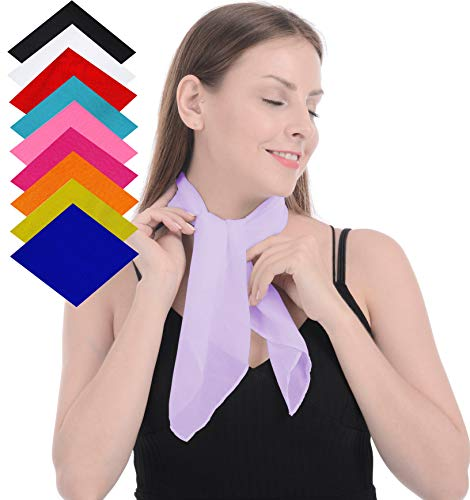 Retro Classic Chiffon Square Neck Head Scarf 50s Scarf Pink Fashion Hair Ponytail Purse Scarf Poodle Skirt For Women -
