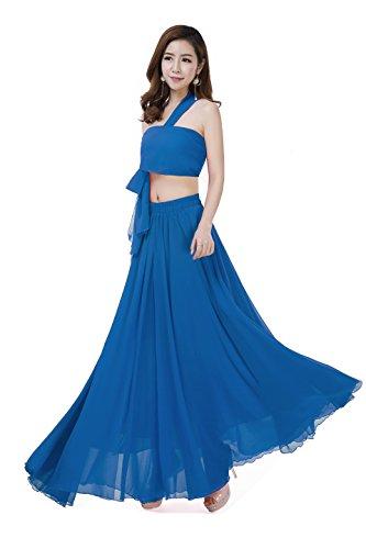 (Sinreefsy Women Summer Chiffon High Waist Pleated Big Hem Full/Ankle Length Beach Maxi Skirt(Large/Acid Blue))