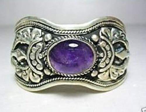 FidgetKute Exquisite Tibet Silver Amethyst Cuff ()