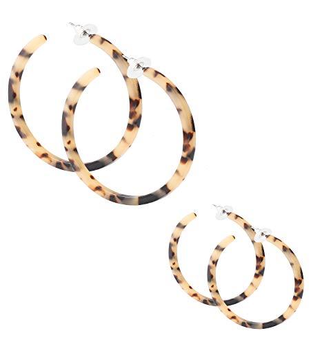 PHALIN Acrylic Hoop Earrings Tortoiseshell Acrylic Earrings Geometric Resin Earring Studs for Women Girls (B 2PCS Leoaprd) ()