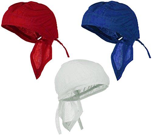 Doo-Rag Bundle Red White Blue Patriotic Flag Color Motorcycle Skull Caps ()