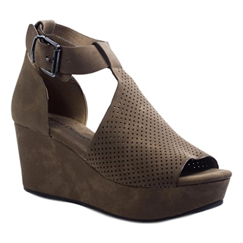 - Pierre Dumas Natural-4 Women's Cutout Open-Toe Ankle Strap Platform Wedge Sandals (6.5 B(M) US, Taupe Suede)