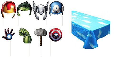 Superhero Avengers Photo Booth Props and Cloud Backdrop Tablecloth Superhero Masks for Kids - Activity Game for Party